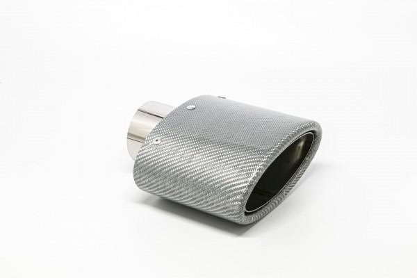 Endrohr 82x152mm oval Carbon abgeschrägt silber glänzend