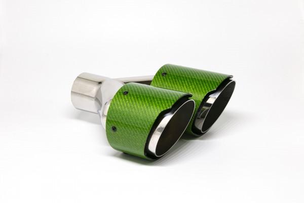 Endrohr Carbon 2x100mm rund scharf abgeschrägt versetzt links grün glänzend (Aufpreis)
