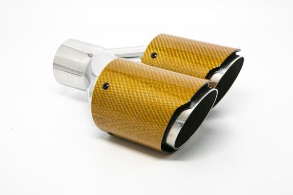 Endrohr Carbon 2x90mm rund scharf abgeschrägt versetzt rechts orange glänzend