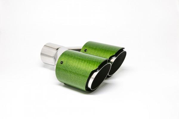Endrohr Carbon 2x90mm rund scharf abgeschrägt versetzt rechts grün glänzend