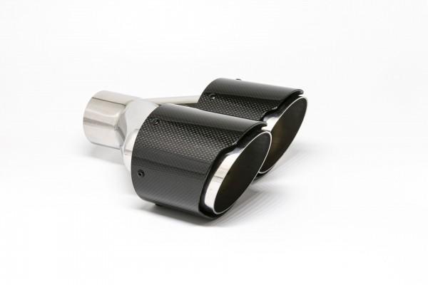 Endrohr Carbon 2x100mm rund scharf abgeschrägt versetzt rechts