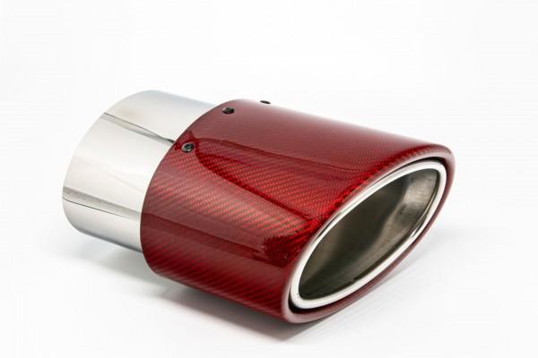 Endrohr 120x175mm oval Carbon seitlich abgeschrägt links rot glänzend (Aufpreis)