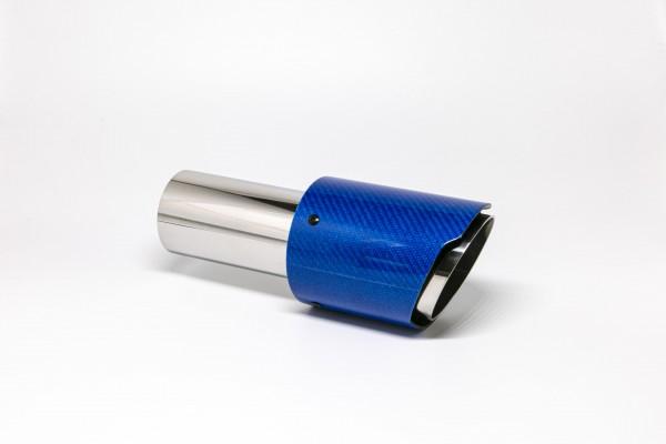 Endrohr 90mm rund Carbon scharf blau glänzend (Aufpreis)
