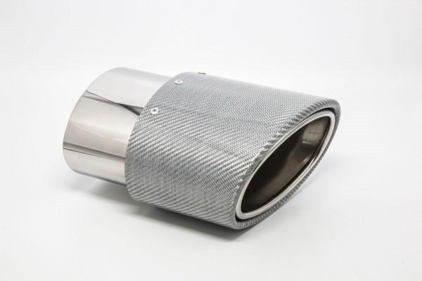 Endrohr 120x175mm oval Carbon seitlich abgeschrägt links silber glänzend (Aufpreis)