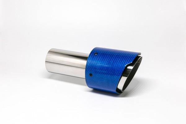 Endrohr 100mm rund Carbon scharf blau glänzend (Aufpreis)