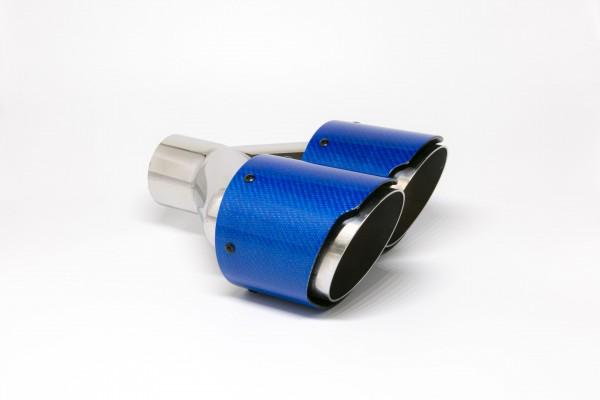Endrohr Carbon 2x100mm rund scharf abgeschrägt versetzt rechts blau glänzend (Aufpreis)