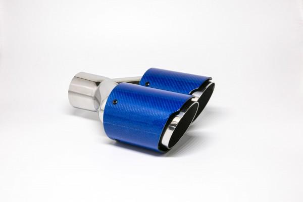 Endrohr Carbon 2x90mm rund scharf abgeschrägt versetzt rechts blau glänzend
