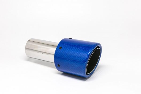 Endrohr 100mm rund Carbon abgeschrägt blau glänzend (Aufpreis)