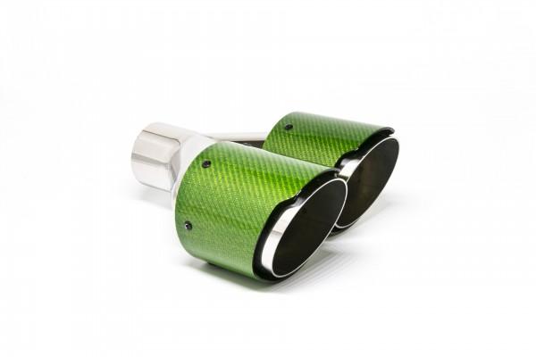 Endrohr Carbon 2x100mm rund scharf abgeschrägt versetzt rechts grün glänzend (Aufpreis)