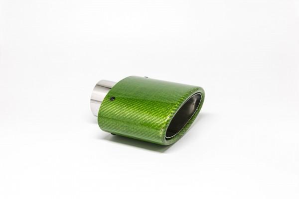 Endrohr 82x152mm oval Carbon abgeschrägt grün glänzend