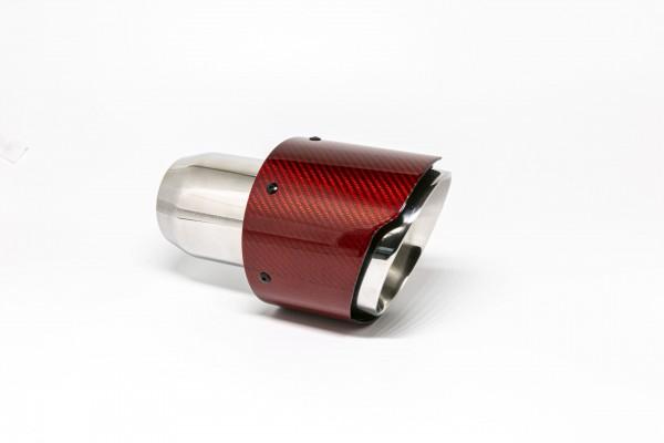 Endrohr 114mm rund Carbon breite Kante abgeschrägt rot glänzend (Aufpreis)