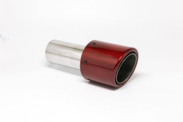 Endrohr 100mm rund Carbon abgeschrägt rot glänzend