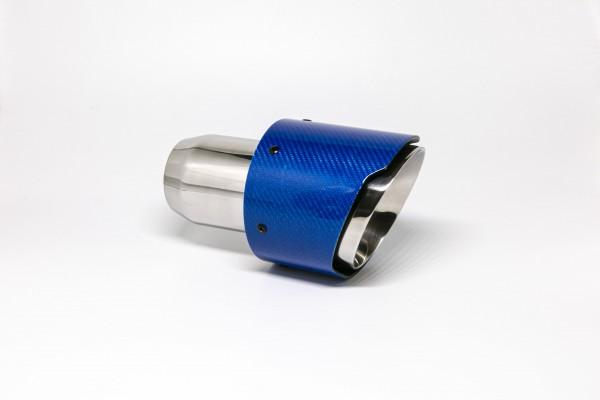Endrohr 114mm rund Carbon breite Kante abgeschrägt blau glänzend (Aufpreis)