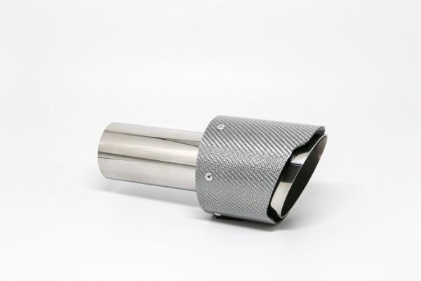 Endrohr 100mm rund Carbon scharf silber glänzend (Aufpreis)