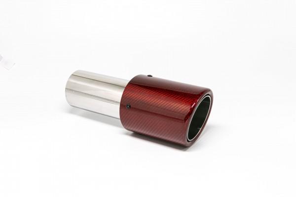 Endrohr 90mm rund Carbon abgeschrägt rot glänzend