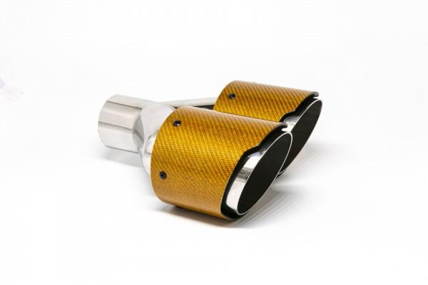 Endrohr Carbon 2x100mm rund scharf abgeschrägt versetzt rechts orange glänzend (Aufpreis)