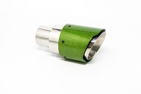Endrohr 100mm rund Carbon breite Kante abgeschrägt grün glänzend