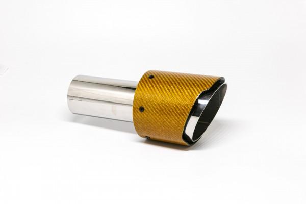 Endrohr 100mm rund Carbon scharf orange glänzend (Aufpreis)