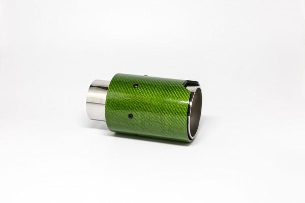 Endrohr 90mm rund Carbon grün glänzend (Aufpreis)
