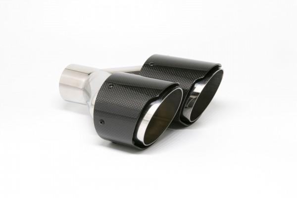 Endrohr Carbon 2x100mm rund scharf abgeschrägt versetzt links (Aufpreis)