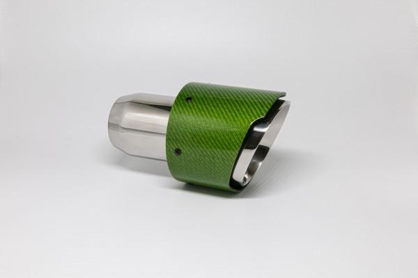 Endrohr 114mm rund Carbon breite Kante abgeschrägt grün glänzend (Aufpreis)