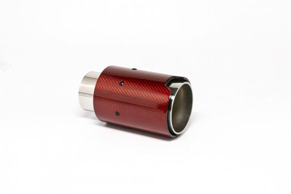 Endrohr 90mm rund Carbon rot glänzend