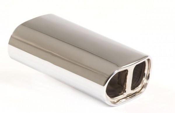 Endrohr 150x78mm oval gebördelt abgerundet mit Mittelsteg