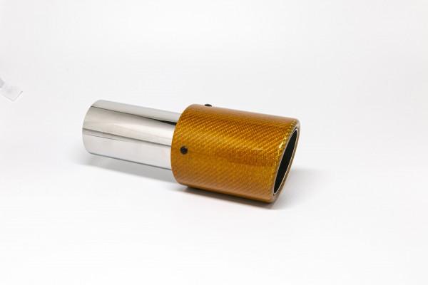 Endrohr 90mm rund Carbon abgeschrägt orange glänzend