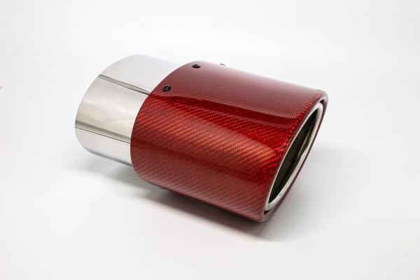 Endrohr 120x175mm oval Carbon seitlich abgeschrägt rechts rot glänzend