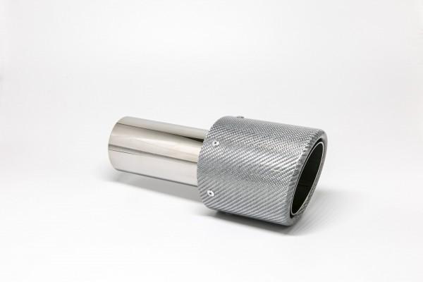 Endrohr 100mm rund Carbon abgeschrägt silber glänzend (Aufpreis)