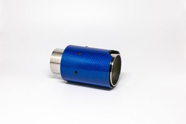 Endrohr 90mm rund Carbon blau glänzend (Aufpreis)