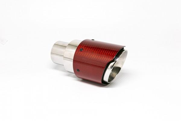 Endrohr 100mm rund Carbon breite Kante rot glänzend (Aufpreis)