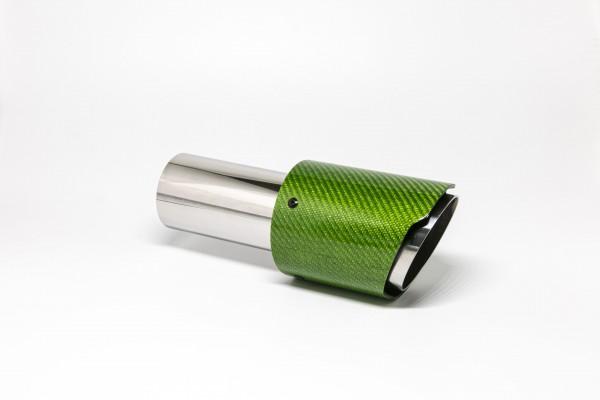 Endrohr 90mm rund Carbon scharf grün glänzend (Aufpreis)