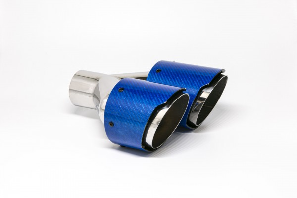 Endrohr Carbon 2x100mm rund scharf abgeschrägt versetzt links blau glänzend (Aufpreis)