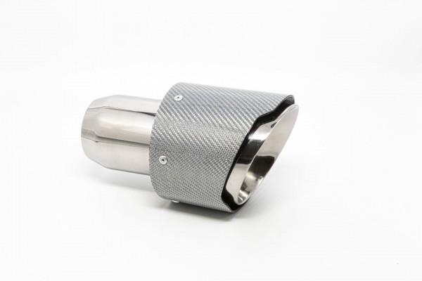 Endrohr 114mm rund Carbon breite Kante abgeschrägt silber glänzend (Aufpreis)