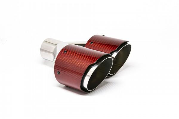 Endrohr Carbon 2x100mm rund scharf abgeschrägt versetzt rechts rot glänzend (Aufpreis)