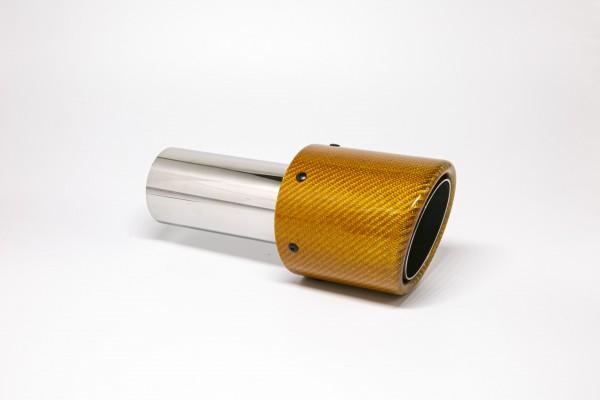 Endrohr 100mm rund Carbon abgeschrägt orange glänzend (Aufpreis)