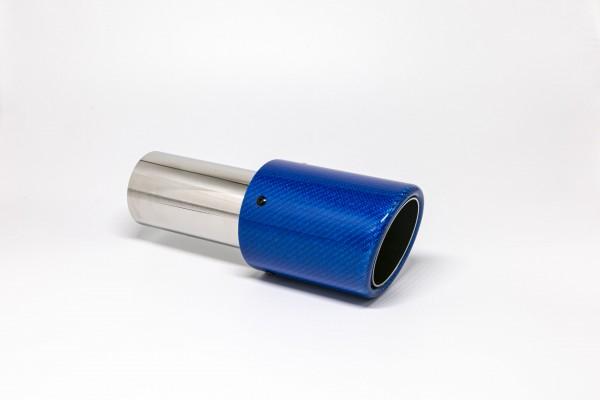 Endrohr 90mm rund Carbon abgeschrägt blau glänzend