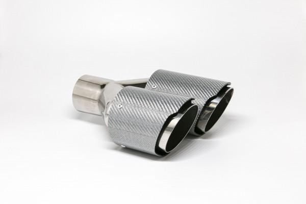 Endrohr Carbon 2x90mm rund scharf abgeschrägt versetzt links silber glänzend (Aufpreis)