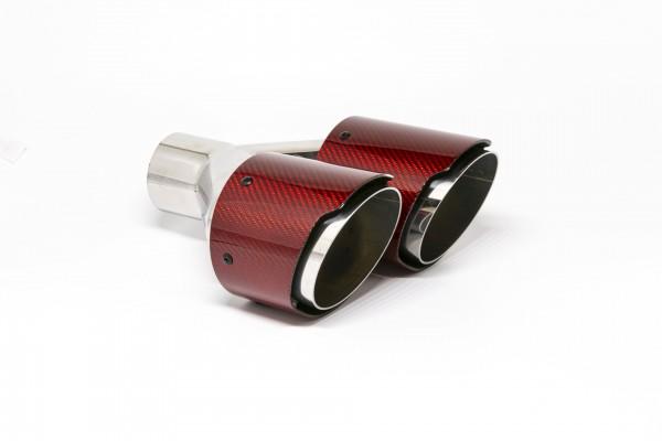 Endrohr Carbon 2x100mm rund scharf abgeschrägt versetzt links rot glänzend (Aufpreis)