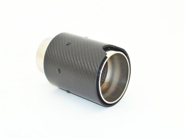 Endrohr 90mm rund Carbon schwarz glänzend (Aufpreis)
