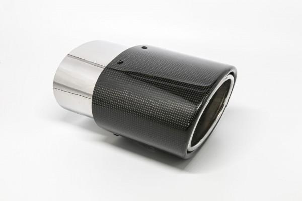 Endrohr 120x175mm oval Carbon seitlich abgeschrägt rechts