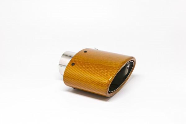 Endrohr 82x152mm oval Carbon abgeschrägt orange glänzend (Aufpreis)