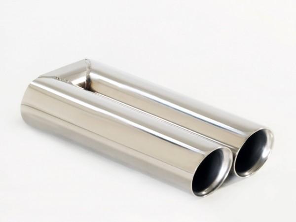 Endrohr 2x76mm rund schräg breite Kante
