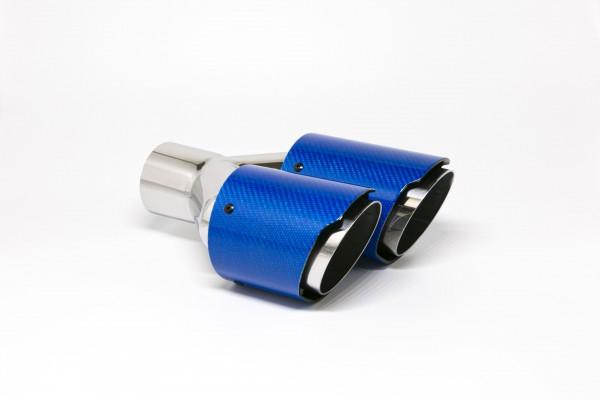 Endrohr Carbon 2x90mm rund scharf abgeschrägt versetzt links blau glänzend