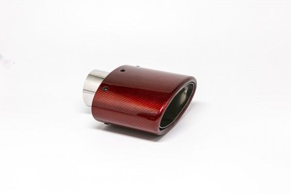 Endrohr 82x152mm oval Carbon abgeschrägt rot glänzend