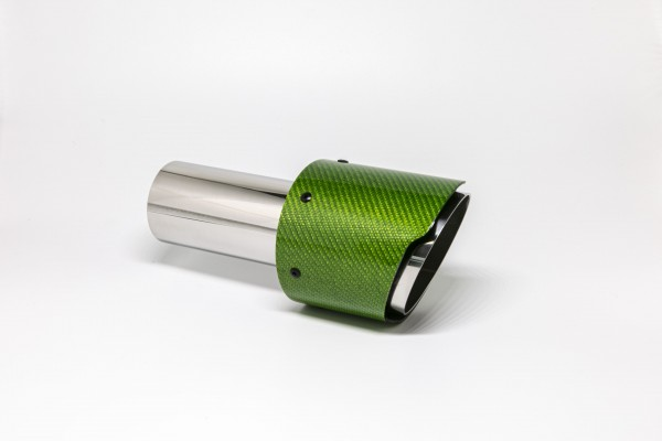 Endrohr 100mm rund Carbon scharf grün glänzend (Aufpreis)