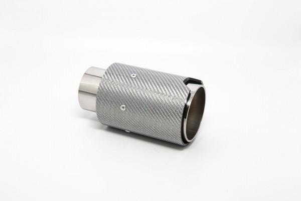 Endrohr 90mm rund Carbon silber glänzend