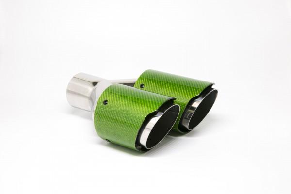 Endrohr Carbon 2x90mm rund scharf abgeschrägt versetzt links grün glänzend