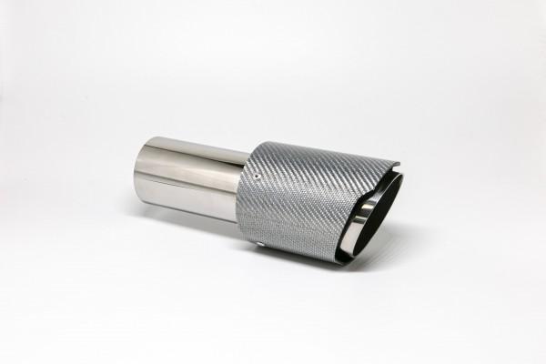 Endrohr 90mm rund Carbon scharf abgeschrägt silber glänzend
